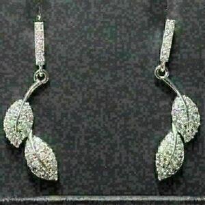 Gorgeous-White-Moissanite-Earrings-Leaf-Drop-Dangle-Women-Wedding-Jewelry-Gift