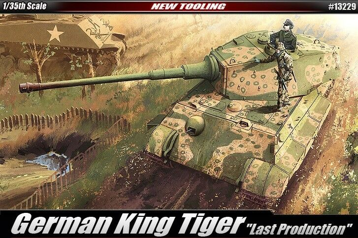 Academy 13229 1 35 German King Tiger 'Late Production' Model Kit (New Tooling)