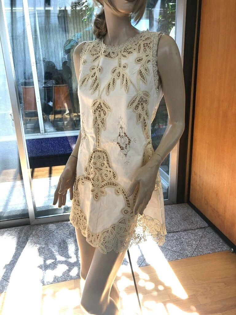 Lim's Beautiful Battenberg Lace & Hand Embroidery Mini Dress One Größe M Natural