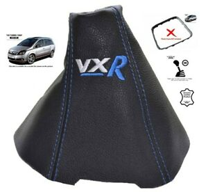 """Gear Stick Gaiter For Vauxhall Zafira B 2005-2014 Leather /""""OPC/"""" Blue Embroidery"""
