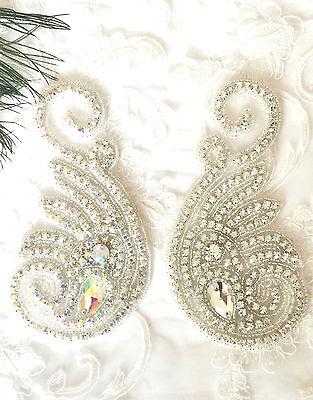 Generoso Bellissimo Diamante Cristallo Motivo Applique Patch Ferro Su Abiti Da Sposa-mostra Il Titolo Originale