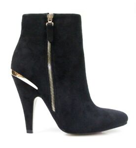 THERAPY-Size-8-Suede-Black-Maddison-Faux-Gold-Zip-Heel-Boots