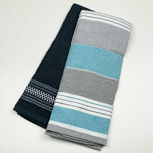 Details about Bistro Gray Seafoam Green Stripe Solid Cotton Flat Woven  Kitchen Towels Set of 2