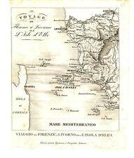 Carta Viaggio tra Firenze Livorno e l'Isola d'Elba Riforma Amministrativa 1849