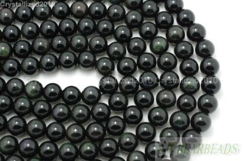 """Obsidiana Natural Gemstone redonda con cuentas de 2 mm 3 mm 4 mm 5 mm 6 mm 8 mm 10 mm 12 mm 14 mm 16/"""""""