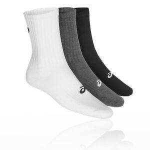 Asics Mens Crew Running Socks Black Grey White Sports Breathable Lightweight