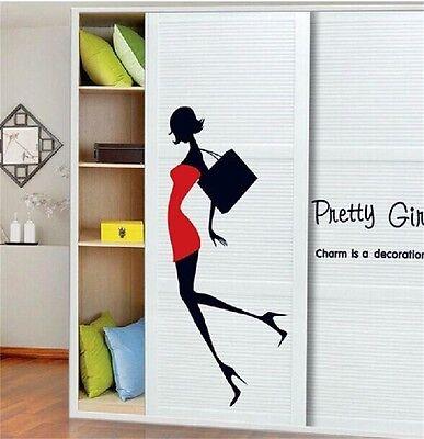 Women Pretty Girl Wall Sticker Decor Art Vinyl Room Window Closet Home Decal