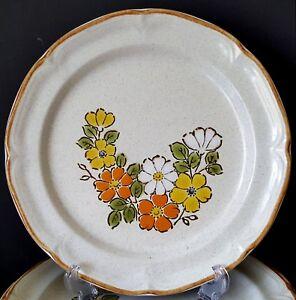 Hearthside-Spring-Garden-4-Dinner-Plates-Floral-Vtg-1970s-Japan-Stoneware-EUC