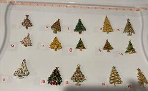 PICK A BROOCH PIN- VINTAGE - NOW CHRISTMAS TREES TREE JJ BULBS GLITTER GOLD C2