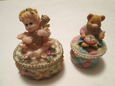 (M) 2 Small Trinket Boxes, 1 Angel & 1 Bear