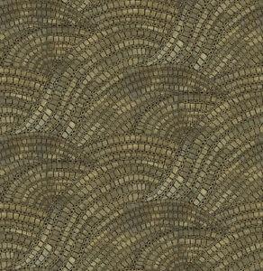 Tapete-Designtapete-Mosaik-Boden-AlHambra-Schimmer-Asphalt-Coal