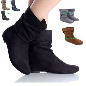 0123c57a3a8a5 Details about WOMENS LADIES FAUX SUEDE FASHION PIXIE ANKLE BOOTS FLATS  SHOES UK SIZE 3-9 FB490
