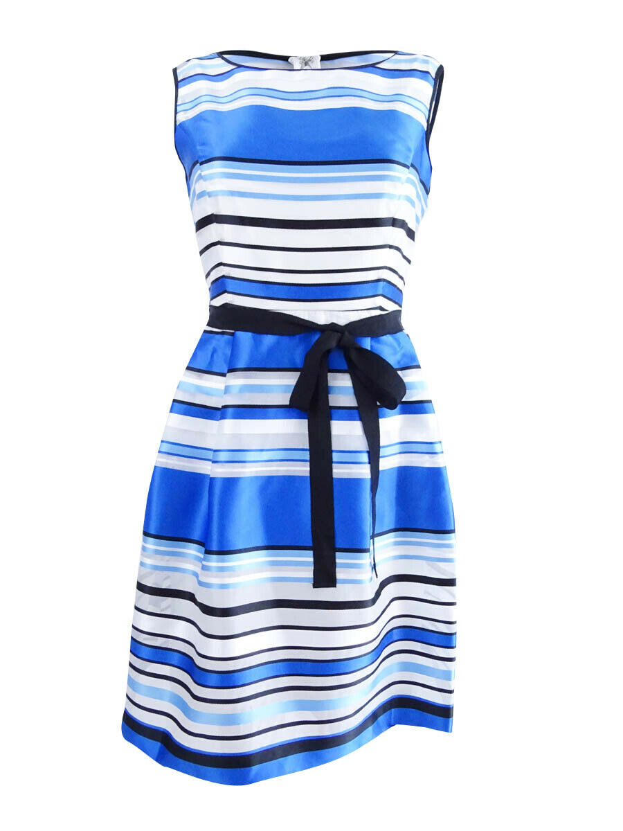 Ellen Tracy Women's Petite Belted Striped Dress