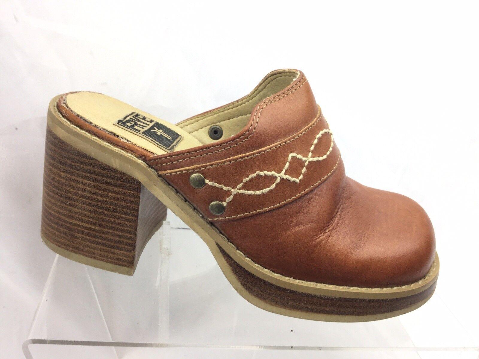 Frye Vintage Brown Camel Tan  Platform High Heeled Clogs Sz 6M Dusty 73810
