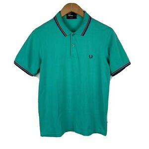 Fred-Perry-Mens-Polo-Shirt-Size-Medium-Super-Slim-Fit-Green-Short-Sleeve-Cotton