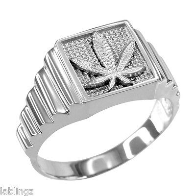 Sterling Silver Marijuana Weed Leafs Square Mens Ring (size 7-16)