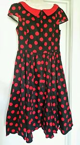 Hearts-and-Roses-H-amp-R-Black-and-Red-Rockabilly-Retro-Dress-50s-Swing-12-44