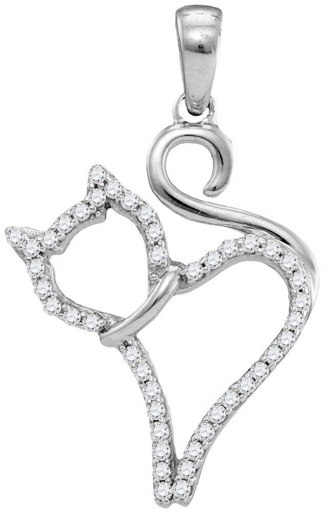 Ladies 10K White gold Cat Kitty Animal Real Diamond Charm Pendant 1 6 CT