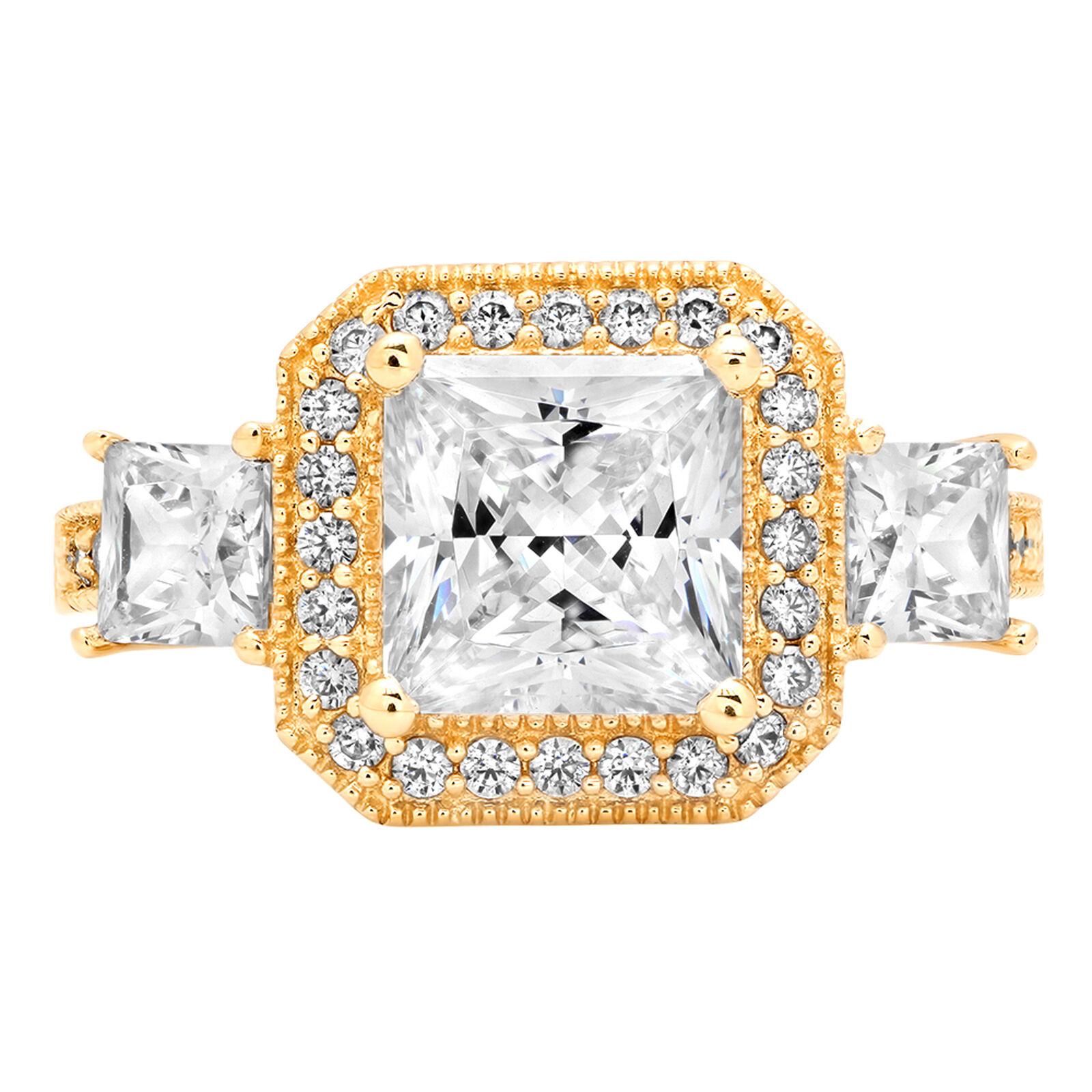 2.93ct Halo 3Stone Cushion Princess Cut Engagement Bridal Ring  14k Yellow gold