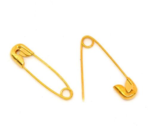 30 petites épingles à nourrice dorées 19 x 5 mm