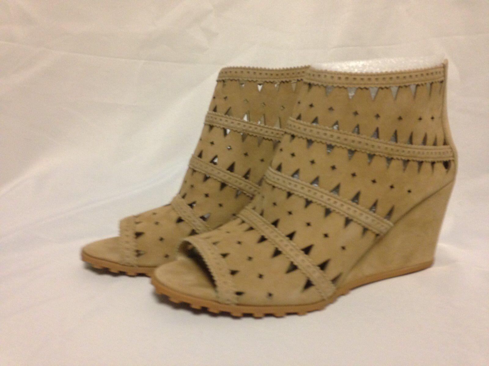 Via Spiga Latanya Wedge Heel Bootie Open Toe Ankle Bootie Heel 11 M Camel Suede  New w/ Box e86e40