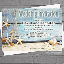 Beach Wedding Evening Day Starfish Shells Drift Wood Invitations x 12 with env