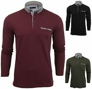 New-Mens-Button-Up-Long-Sleeve-Pique-Collared-Casual-Formal-Polo-Jumper-Shirt