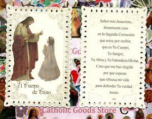 El-Cuerpo-de-Cristo-Comunion-Oracion-Nina-Espanol-Cordon-Santa-Tarjeta