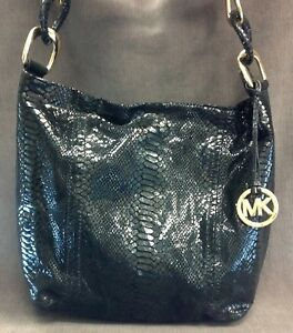 011d6a5d792a9 Image is loading MICHAEL-KORS-Embossed-Python-Snakeskin-Patent-Black-Leather -
