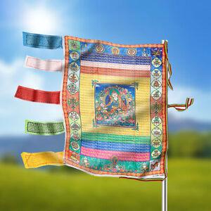 Tibetain-Satin-Wind-Cheval-Drapeau-Bouddhisme-Bouddha-Priere-95x75cm