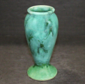 "Vintage Brush McCoy Green Onyx Baulster Art Pottery 6"" Vase"