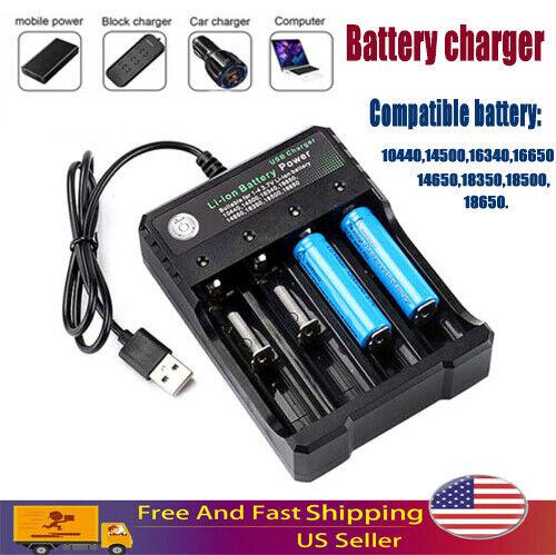 4-Slot 18650Li-ion Batteries 6800mAh 3.7V Rechargeable Battery Charger USB US