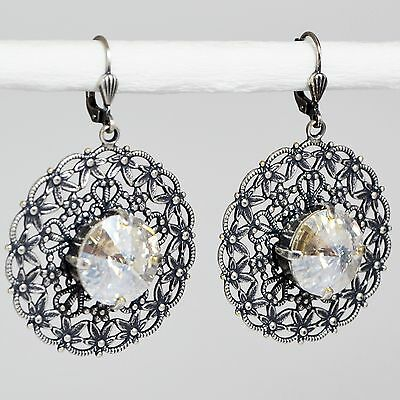Grevenkämper Ohrringe Swarovski Kristall Rund Vintage klar Crystal Moonlight