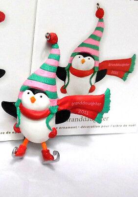 NEW /& Mint 2011 Hallmark GRANDDAUGHTER Penguin on Ice Skates Ornament
