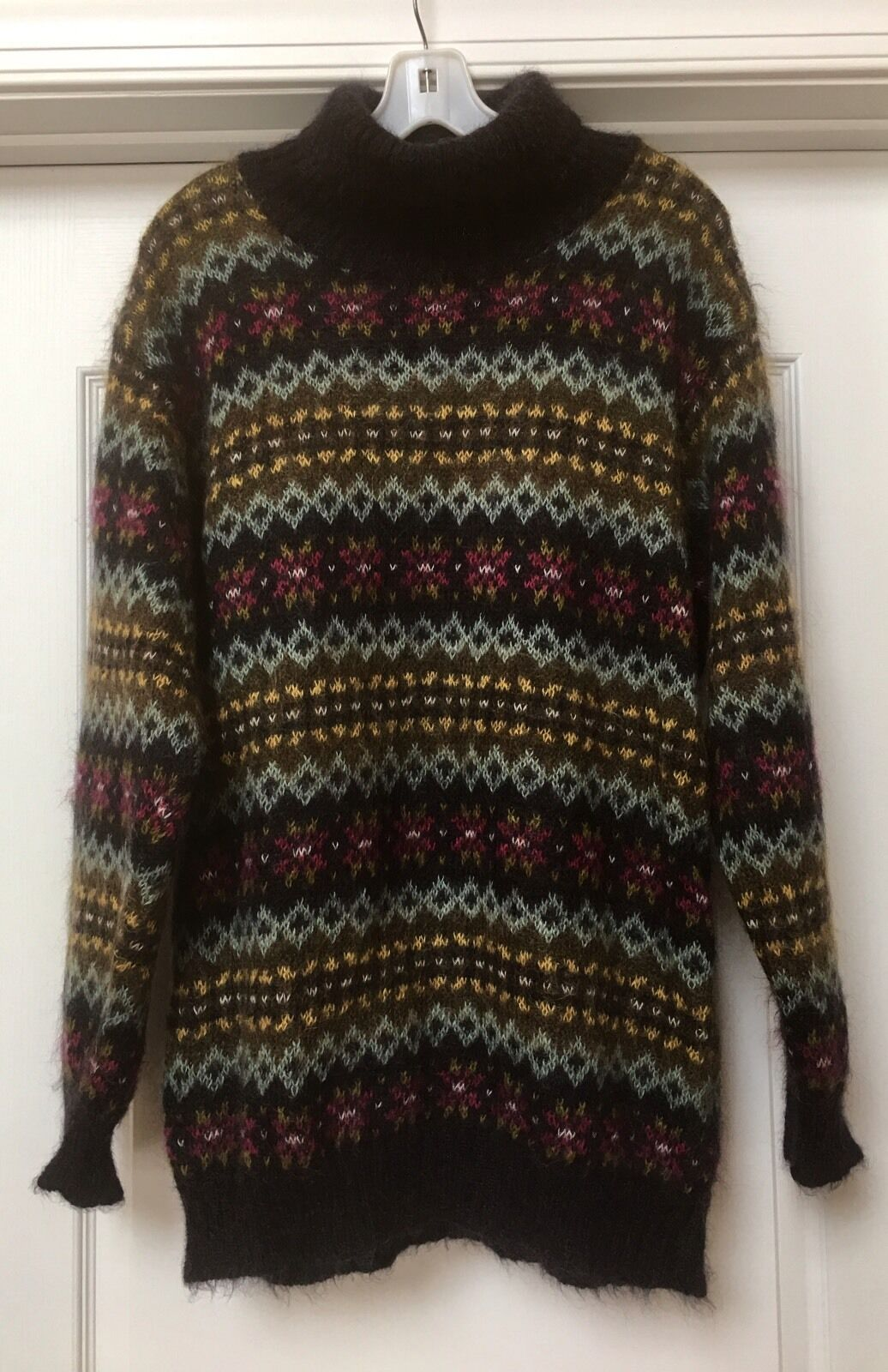 Womens UNITED COLORS OF BENETTON Multi ColoR Mohair Sweater, Size L. ITALY ️