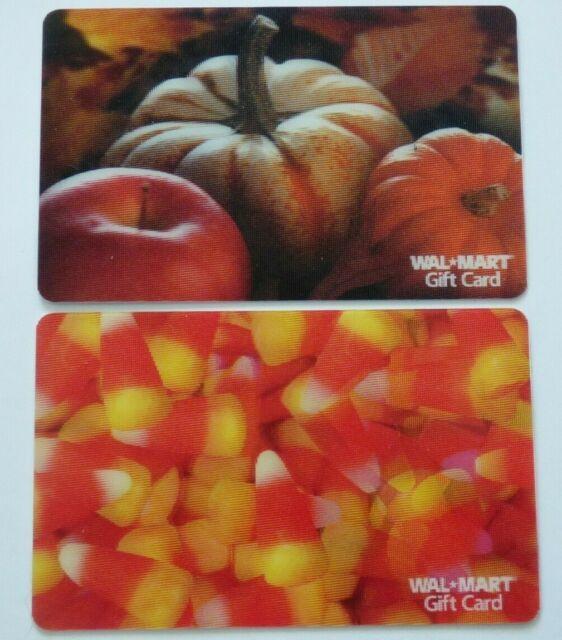 Walmart Gift Card Lenticular / 3D - Halloween - Candy Corn, Pumpkins - No Value