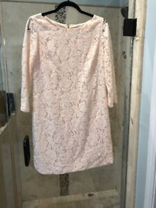 Details About Vince Camuto 34 Length Sleeve Lace Dress 10 Shirttail Hem Shift Dress Blush