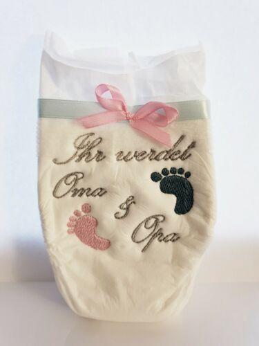 Bestickte Windel Oma Opa Tante Onkel Papa Taufpaten Geburt Baby Geschenk NEU