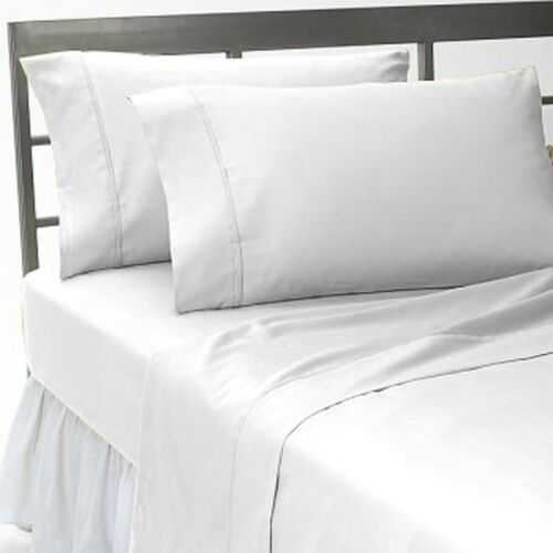 1000TC WHITE SOLID FITTED SHEET SHEET SET EXTRA DEEP POCKET EGYPTIAN COTT