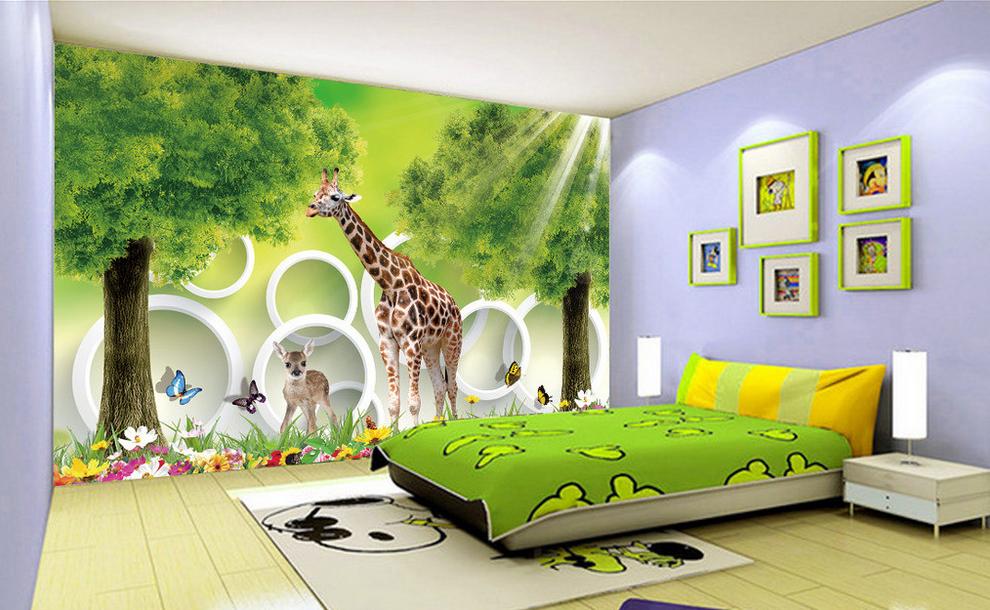Papel Pintado Mural Vellón Jardín Jardín Jardín De Bosque De Animales 2 Paisaje Fondo Pantalla 5c3b76
