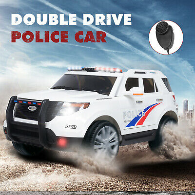 Police Car Ride On 12v Kids Electric Double Drive Music Top Best