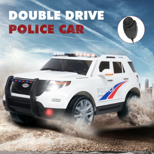 12v Kids Police Ride On Suv Cars Electric W 2 Sds Light Sirens Usb Aux