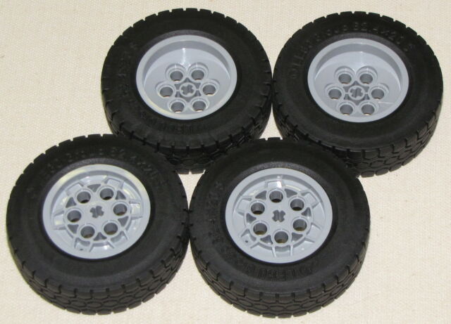 LEGO 4 LARGE TIRES 62.4 X 20 S WHEELS BLACK AND GREY FROM 42009 CRANE TRUCK CAR