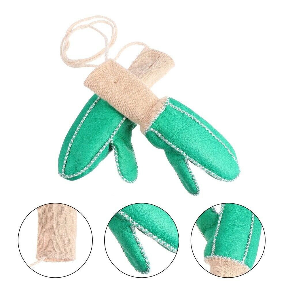 1 Pair High Quality Prime Sturdy Durable Sheepskin Mittens for Winter