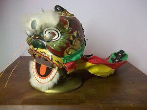 Vintage-Handmade-Chinese-Parade-Hand-Puppet-Dragon-Head-Paper-Mache-Fabric-Rare