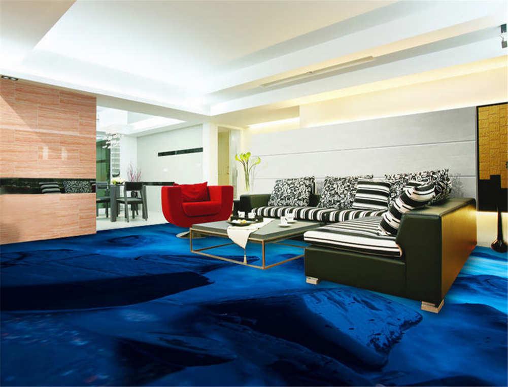 Cold Blau Water 3D Floor Mural Photo Flooring Wallpaper Home Print Decoration