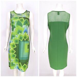 Womens-Desigual-Geometric-Print-Dress-Green-Summer-Sleeveless-Size-L