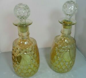 Vintage-Carnival-Marigold-Gold-Thumbprint-Decanters-Luster-Glass-Pair-2