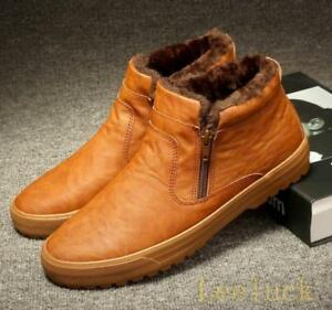 new mens fur lined high top warm snow sneakers zipper