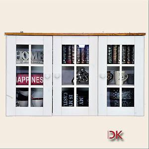 h ngevitrine schrank k che regal kiefer massivholz wei. Black Bedroom Furniture Sets. Home Design Ideas